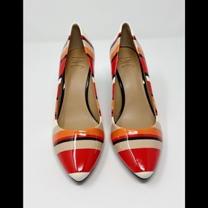 INC Zitah Striped Pointed Toe Coral Pumps 7M